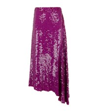 Emilio Pucci Asymmetric Sequin Midi Skirt Female Purple