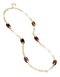 Robert Lee Morris Cool As Ice Tiger's Eye Station Necklace Gold