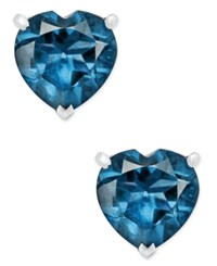 Macy's Blue Topaz Heart Stud Earrings 1 5 8 Ct. T.W. In Sterling Silver Dark Blue