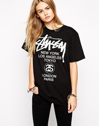Stussy World Tour Front And Back Logo T Shirt Black