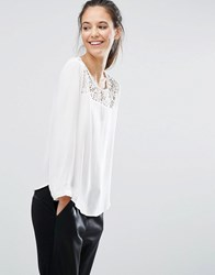 Only Lace Insert Blouse Cloud Dancer Cream