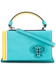 Emilio Pucci Embossed Logo Foldover Tote Women Calf Leather One Size Green
