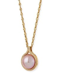 Belpearl Kasumiga Pink Pearl Necklace With Diamonds In 18K Gold