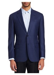 Emporio Armani Marled Wool Sportcoat Blue
