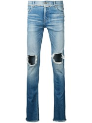Christian Dada Open Knees Jeans Blue