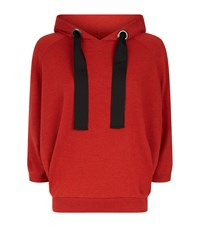 Brunello Cucinelli Ribbon Tie Hoodie Red