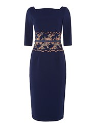 Little Mistress 3 4 Sleeve Embroided Waist Bodycon Dress Navy