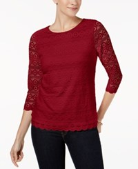 Charter Club 3 4 Sleeve Lace Top Created For Macy's New Red Amore