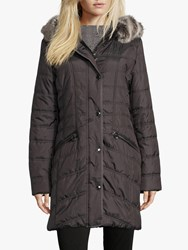Betty Barclay Quilted Hooded Coat Asphalt