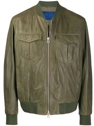 Drome Leather Bomber Jacket Green