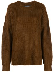 Sally Lapointe Oversized Crew Neck Jumper Brown