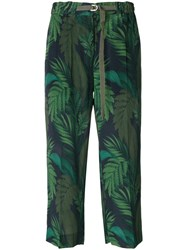 Moncler Fougeres Print Cropped Trousers Green