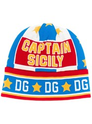 Dolce And Gabbana Captain Sicily Print Beanie Hat Red