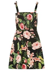 Dorothy Perkins Petite Multi Coloured Floral Print Shirred Skater Dress Black