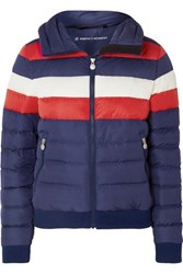 Perfect Moment Queenie Striped Quilted Down Jacket Navy