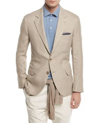 Brunello Cucinelli Linen Wool Silk Deconstructed Sport Jacket Sand
