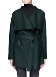 Harris Wharf London Double Breasted Wool Short Coat Green