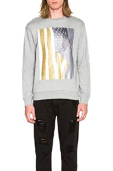 Palm Angels Flag Crewneck Sweatshirt In Gray