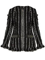 Alexander Wang Leather Trimmed Striped Tweed Jacket Black Grey