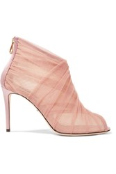 Dolce And Gabbana Keira Mesh Tulle Ankle Boots Pastel Pink