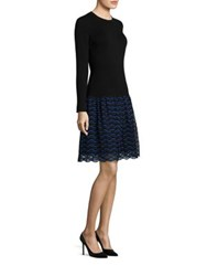 Lela Rose Long Sleeve Lace And Wool Knit Dress Black Blue