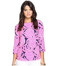 Lilly Pulitzer Waverly Top Bright Navy Coco Safari Women's Clothing Pink