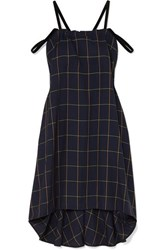 Mcq By Alexander Mcqueen Fluted Velvet Trimmed Checked Woven Dress Navy