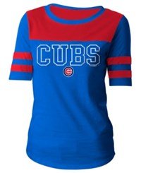 5Th And Ocean Women's Chicago Cubs Glitter Yoke T Shirt Royalblue Red