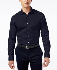 Alfani Spectrum Men's Slim Fit Stretch Dress Shirt Only At Macy's Navy