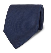Tom Ford 8Cm Silk And Linen Blend Tie Blue