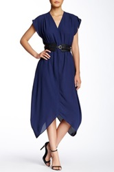 Gracia Belted Wrap Dress Blue