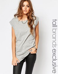 Noisy May Tall T Shirt With Roll Sleeve Charcoal Grey