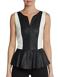 Saks Fifth Avenue Red Faux Leather And Ponte Peplum Top White Black