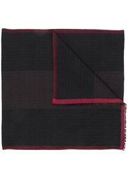 Bally Jacquard Red Trim Scarf Black