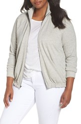 Caslon Plus Size Off Duty Knit Track Jacket Grey Heather