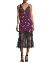 Rebecca Taylor Floral Print Lace Combo Slip Dress Plum Combo