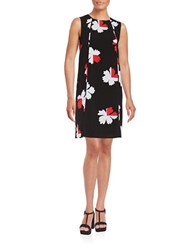 Tommy Hilfiger Floral Pleated Shift Dress Persimmon Ivory