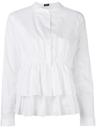 Jil Sander Navy Ruffled Tiered Blouse White