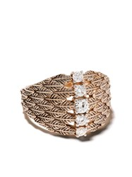 Kismet By Milka 14Kt Rose Gold Leaf Diamond Embellished Cocktail Ring