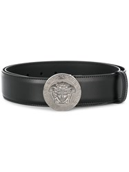 Versace Box Frame Logo Buckle Belt Black
