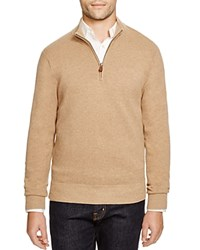 Brooks Brothers Cotton Cashmere Pique Quarter Zip Pullover Camel