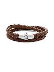 Miansai Sterling Silver Braided Leather Bracelet Brown