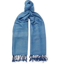 Il Bussetto Fringed Indigo Dyed Cotton Scarf Blue