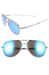 Oakley Men's Elmont 60Mm Polarized Aviator Sunglasses Silver