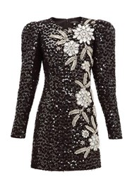 Andrew Gn Embellished Puff Sleeve Tweed Mini Dress Black Silver