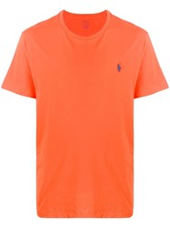 Ralph Lauren Logo Embroidered T Shirt Orange