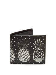 Dolce And Gabbana Bi Fold Pineapple Print Grained Leather Wallet Black Multi