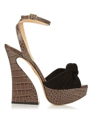 Charlotte Olympia Vreeland Crocodile Effect Leather Sandals Black Grey