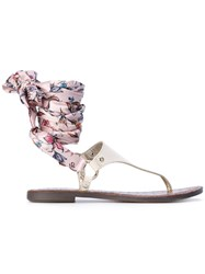 Sam Edelman Giliana Sandals Women Silk Calf Leather Rubber 8 Nude Neutrals