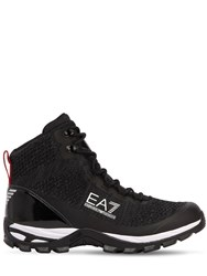 Emporio Armani Nylon And Knit Mesh Hiking Boots Black
